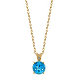 Star Cut Blue Topaz Pendant with Diamond Bail