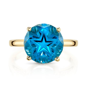 Star Cut Blue Topaz Ring