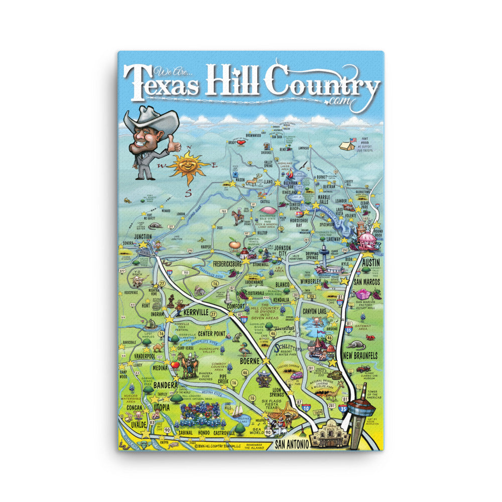Texas Hill Country Caricature Map Canvas – Authentic Texan