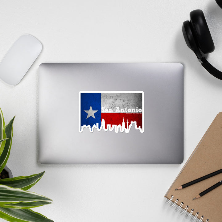 San Antonio Texas Flag Skyline Stickers
