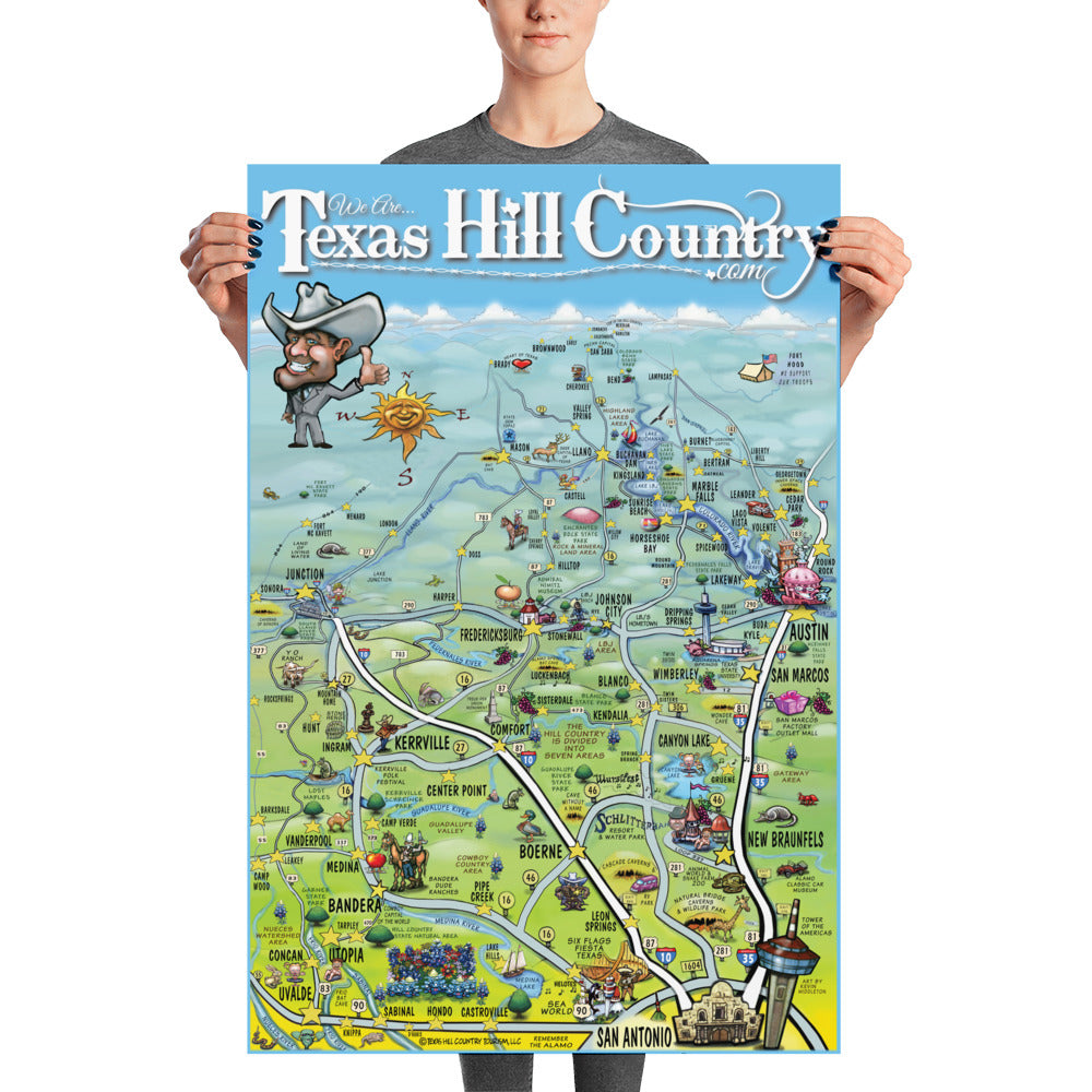 Map Of Texas Hill Country Cities.Texas Hill Country Caricature Map Poster Authentic Texan
