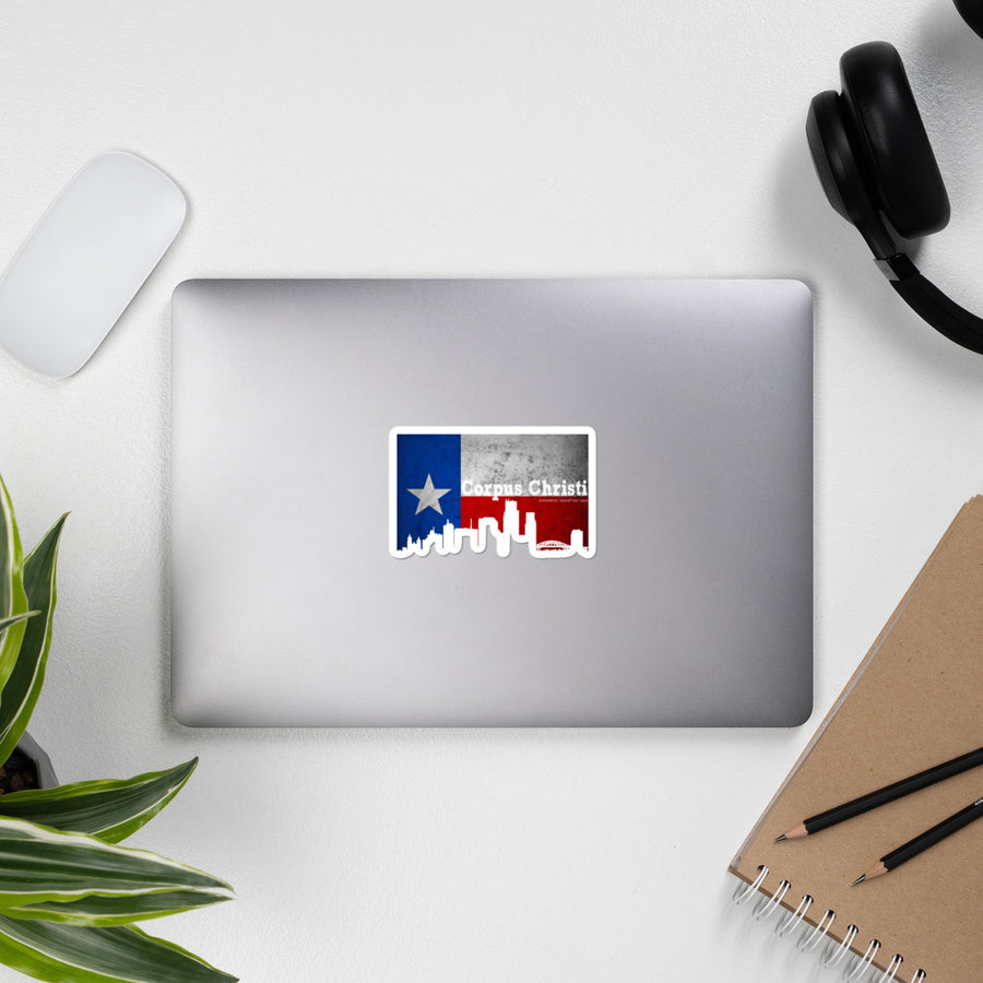 Corpus Texas Flag Skyline Stickers