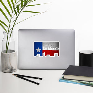 Lubbock Texas Flag Skyline Stickers