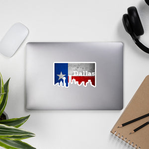 Dallas Texas Flag Skyline Stickers