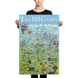 Texas Hill Country Caricature Map Canvas