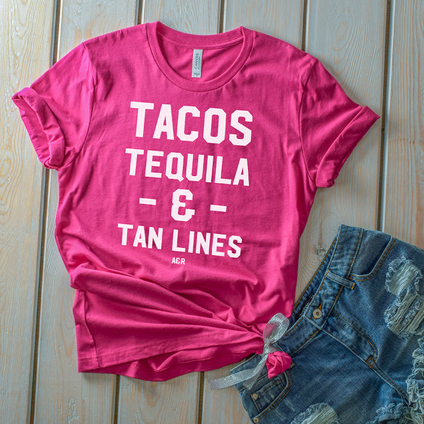 Tacos Tequila and Tan Lines Tee Shirt