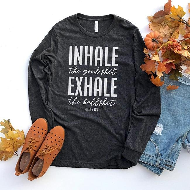 Inhale Exhale Long Sleeve Tee - RTS - Alley & Rae Apparel