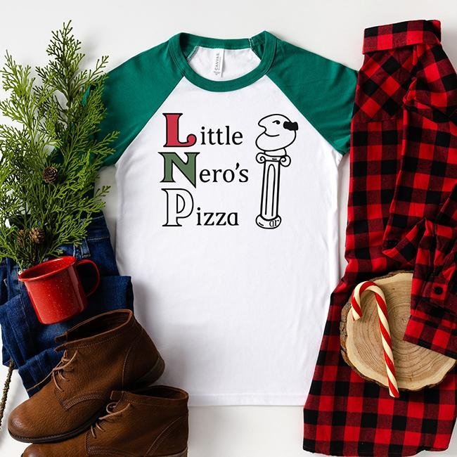 Little Nero's Pizza Raglan - Alley & Rae Apparel