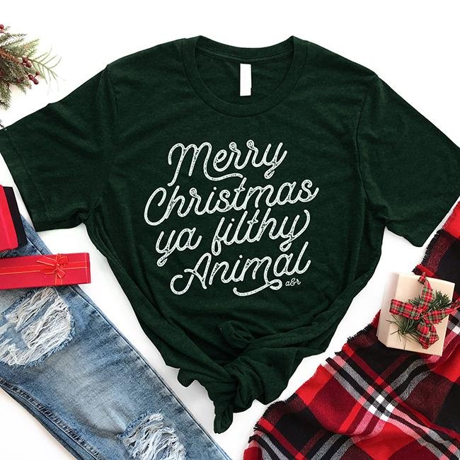 Merry Christmas Ya Filthy Animal Tee Shirt - Alley & Rae Apparel