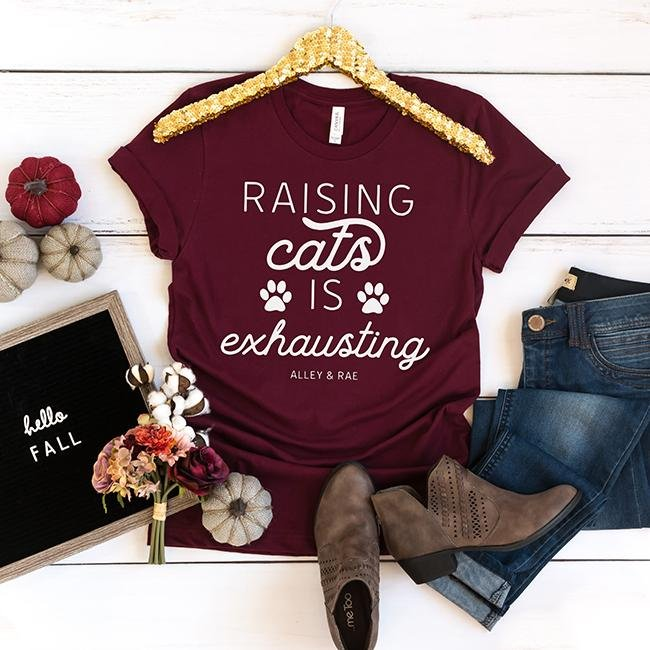 Raising Cats Is Exhausting Tee - Alley & Rae Apparel