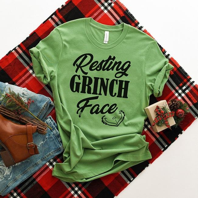 Resting Grinch Face Tee - Alley & Rae Apparel