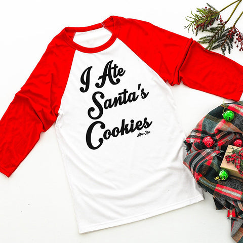 Youth Size 12 - I Ate Santa's Cookies Raglan - Final Sale