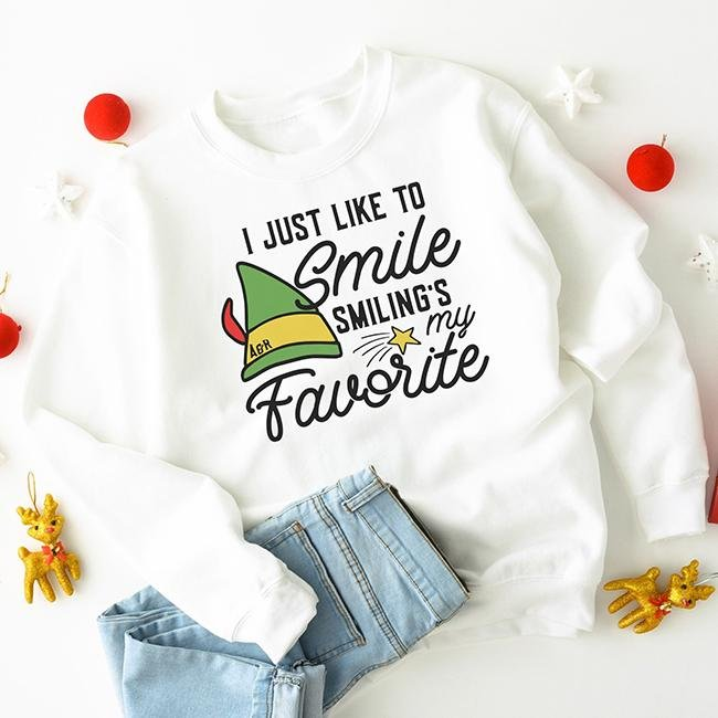 Smiling's My Favorite Elf Sweatshirt - Alley & Rae Apparel