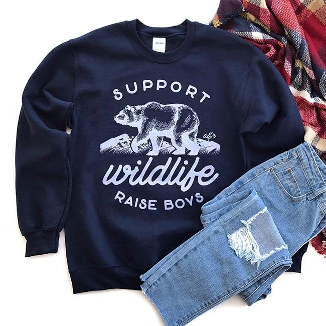 Support Wildlife Raise Boys Unisex Sweatshirt - Alley & Rae Apparel