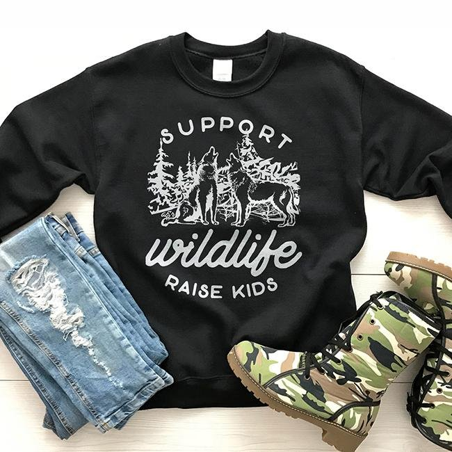 Support Wildlife Raise Kids Unisex Sweatshirt - Alley & Rae Apparel