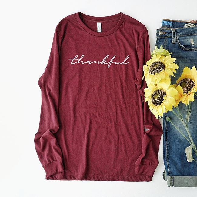 Thankful Long Sleeve Tee Shirt - Alley & Rae Apparel