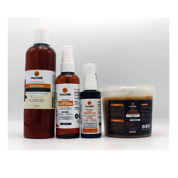 MoMineral Mocare Body Lotion, Hydrating mist toner, facial beauty oil, african black soap,