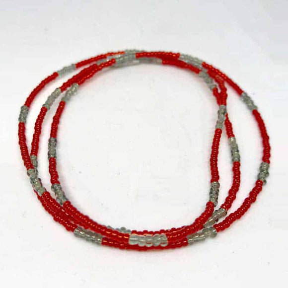Waist Beads - Red and Silver