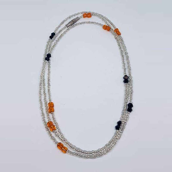 Waist Beads - Silver, Black and Orange