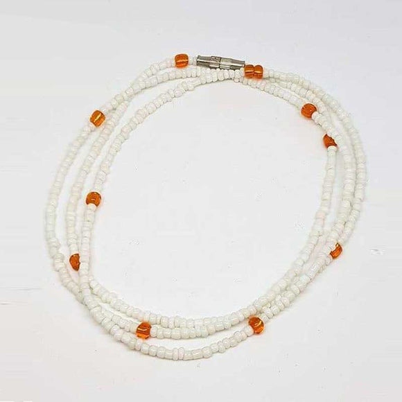 Waist Beads - White and Orange