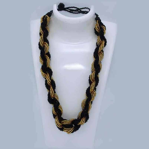 Beaded Necklace - Big Twisted Black & Gold