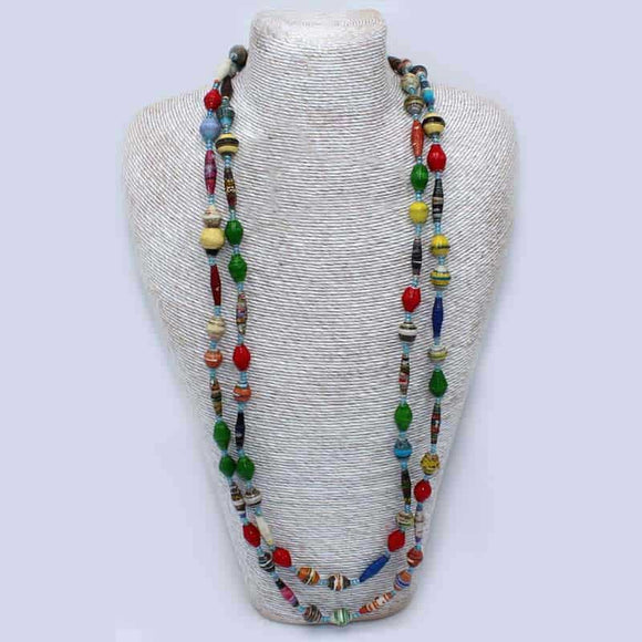 Beaded Necklace - Colourful Paper Beads