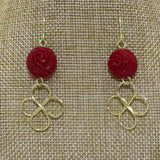 Earring - Gold & Red (Wire Works)