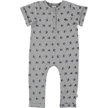 Grey Swallow-Printed Romper - BebeThreads - 1