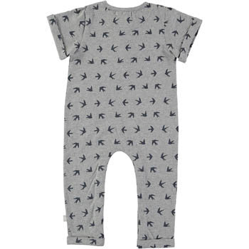 Grey Swallow-Printed Romper - BebeThreads - 2