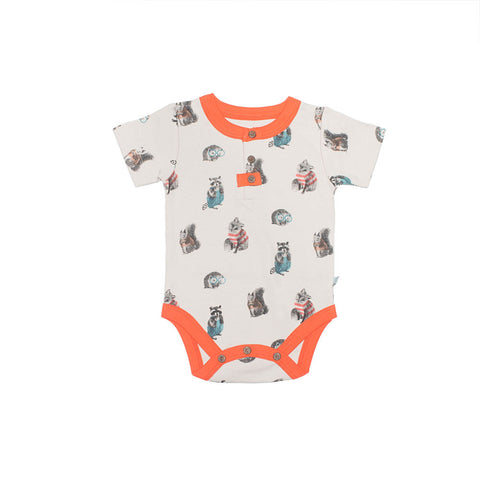 Finn + Emma Short-sleeved Woodland Babygrow - BebeThreads - 1