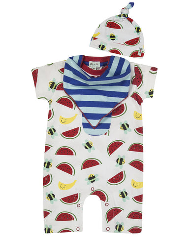 Lilly & Sid Bee Friendly Romper, Bib, and Hat Set - BebeThreads - 1