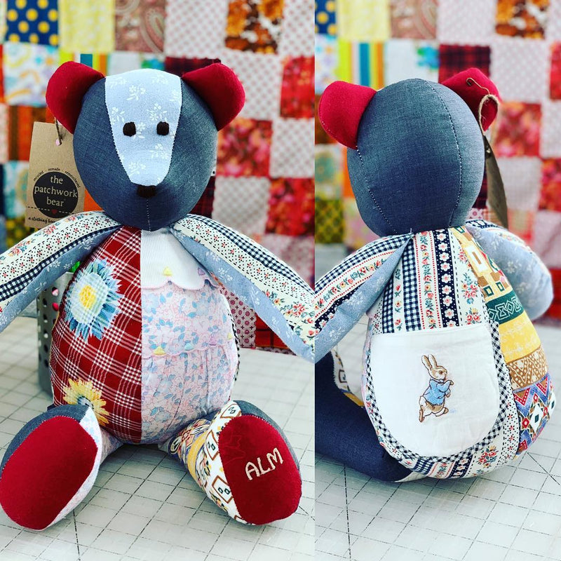 memory bear made from childhood clothing