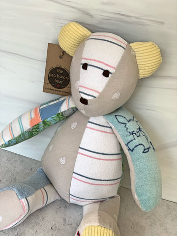 Memory Bear made with baby's receiving blanket and clothes by The Patchwork Bear
