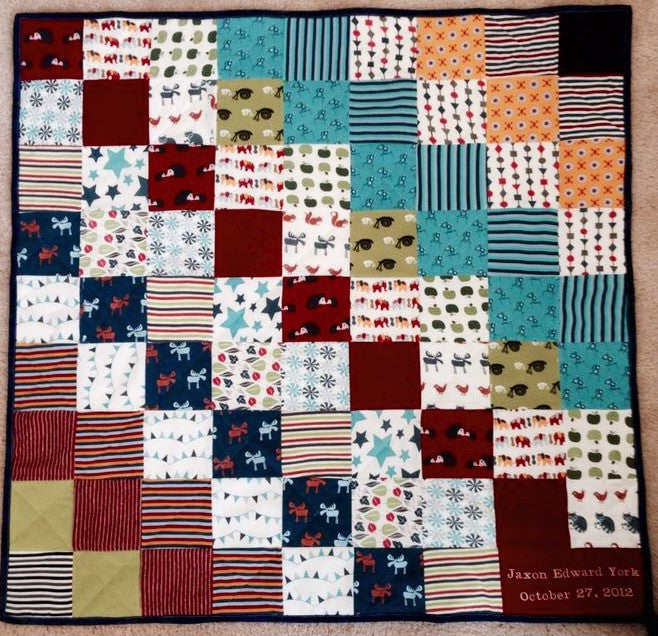 Mini Memory Clothes Quilt 36x36, diagonal pattern