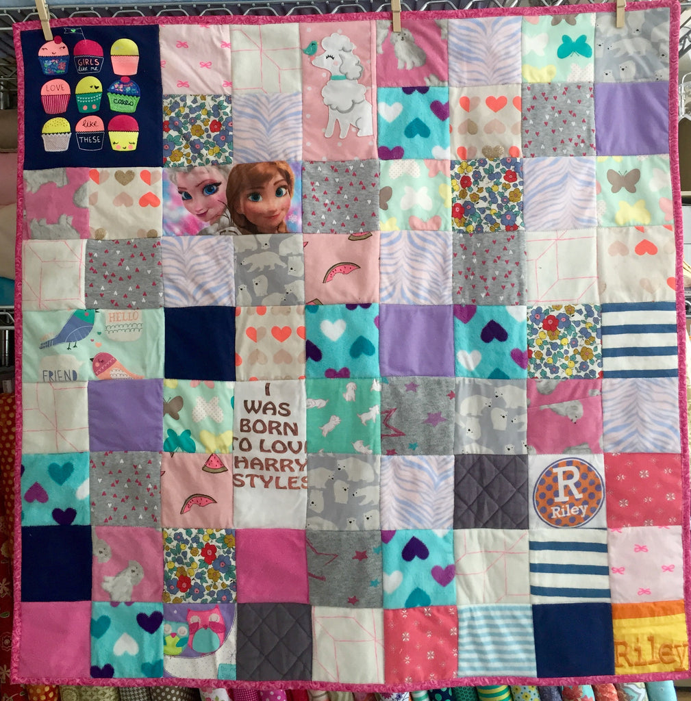 Small Memory Clothes Quilt 36x36, random pattern