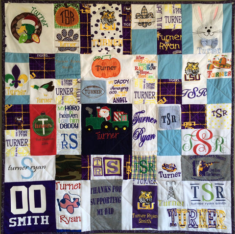 Memory Clothes Quilt 36x36 RANDOM pattern