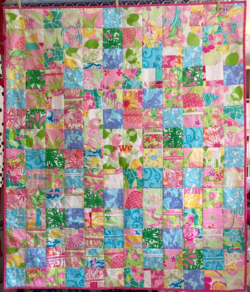 Original Large Memory Clothes Quilt 48x60, random pattern