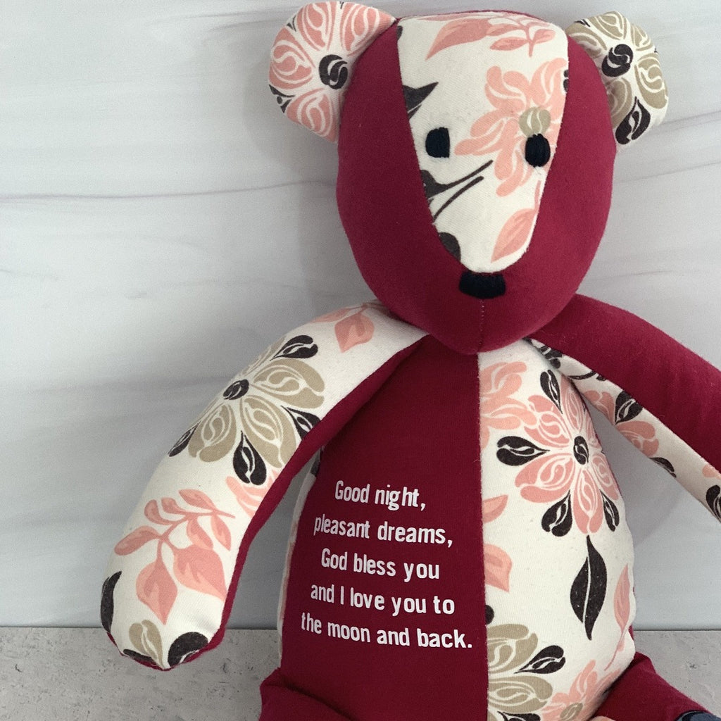 Add your own words, poem or quote to any memory bear