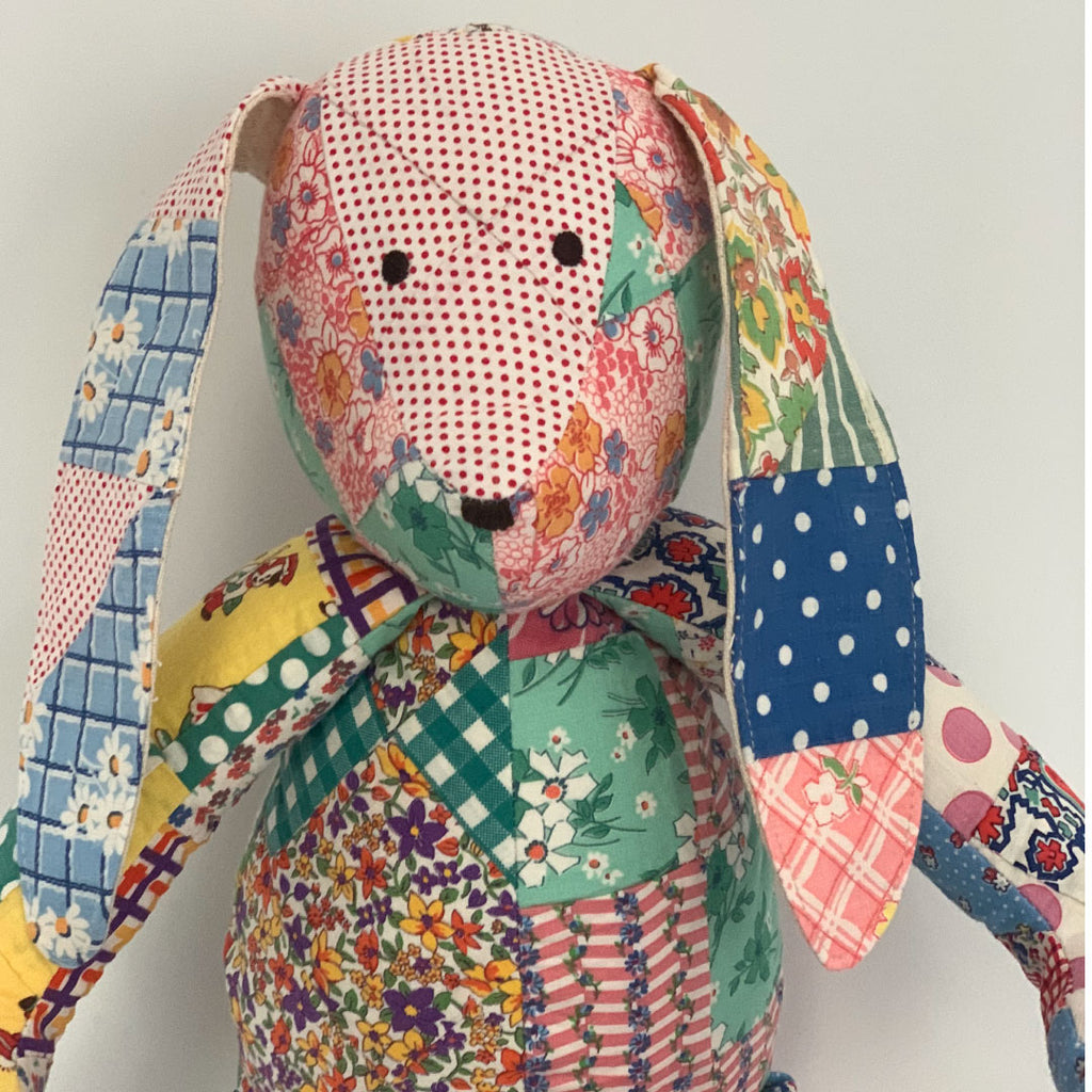 Detail of Patchwork Bunny made with vintage quilts