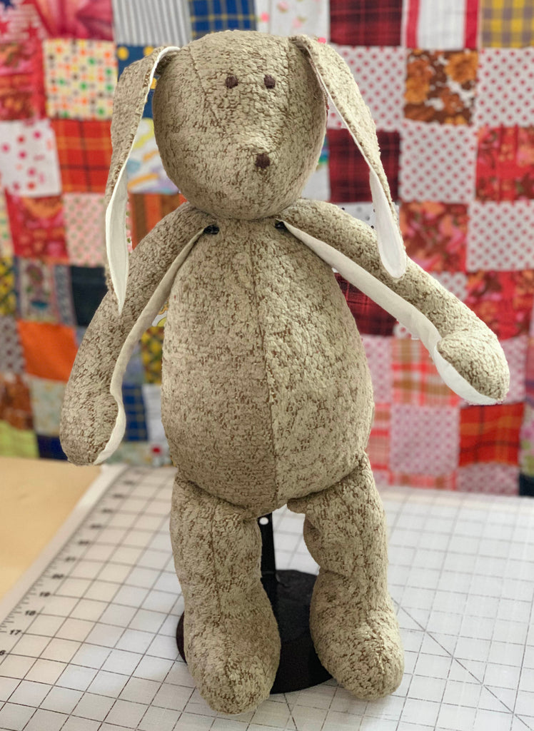 Memory Bunny by The Patchwork Bear made from favorite clothing and fabrics