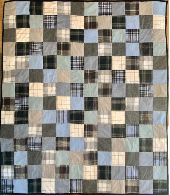 Memory Quilt made with dad's favorite shirts. By The Patchwork Bear