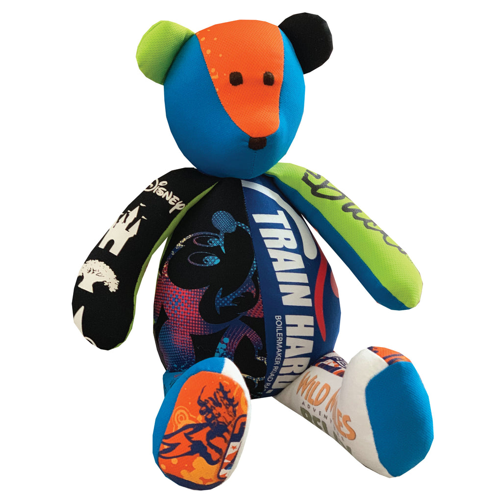 Memory Bear made with running t-shirts. Saving memories by The Patchwork Bear