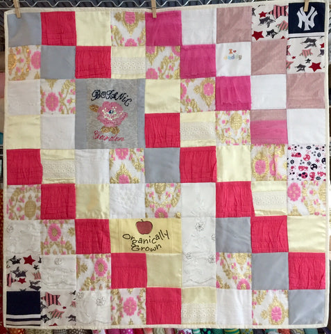 Small Memory Clothes Quilt 36x36, diagonal pattern