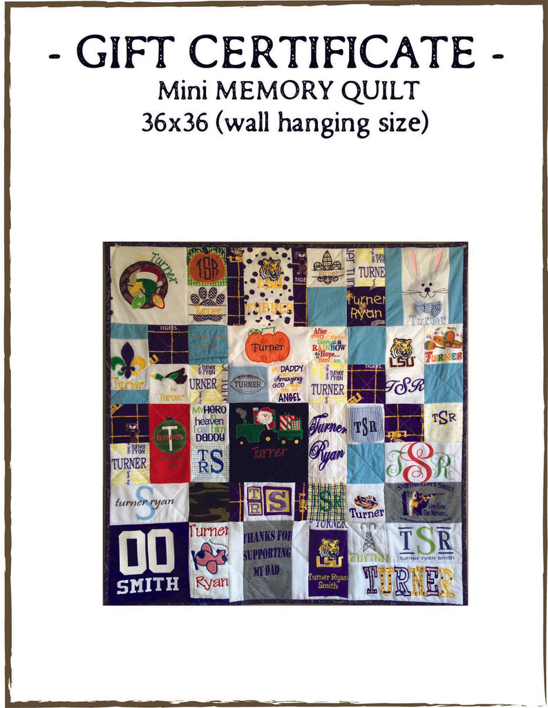 QUILT GIFT CERTIFICATE: Mini Memory Quilt