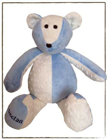 Minky Patchwork Bear, BLUE