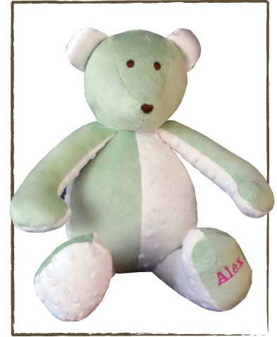 Minky Patchwork Bear, GREEN