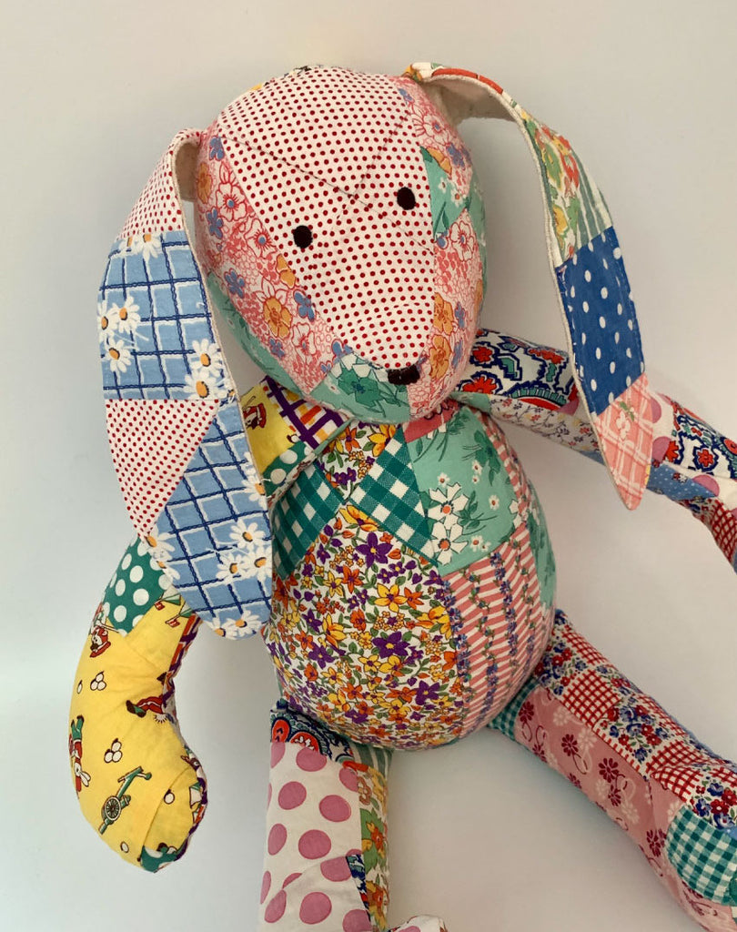 Patchwork Bunny made with Vintage Quilts. Limited edition