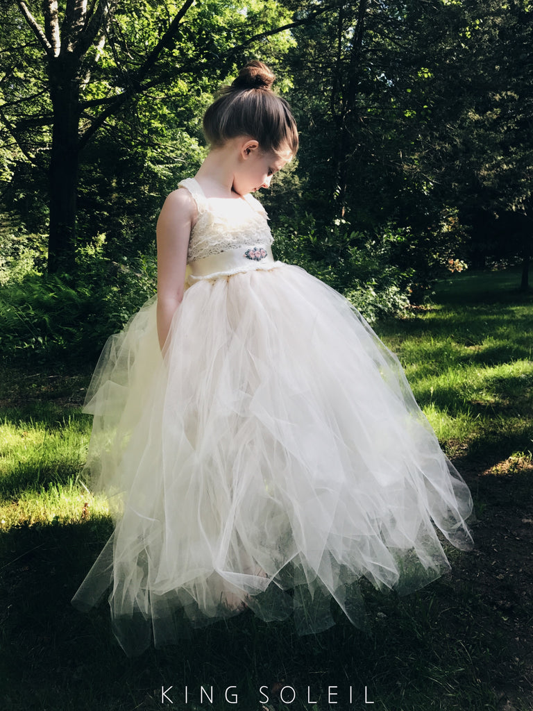 Queen Anne's Lace Dress with Custom Embroidered Sash