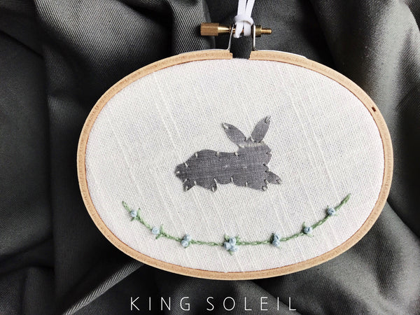 Floral Bunny Embroidery Art - Resting Silver Silk