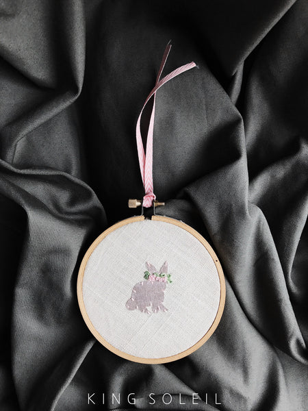 Floral Bunny Embroidery Art - Sitting Pink Silk